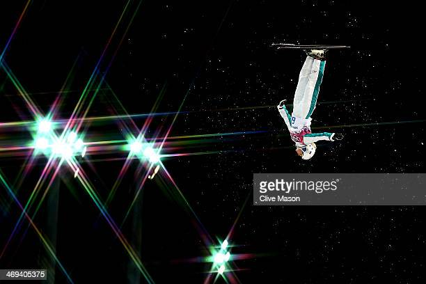 Danielle Scott of Australia makes a practice jump ahead of the Freestyle Skiing Ladies' Aerials Qualification on day seven of the Sochi 2014 Winter...