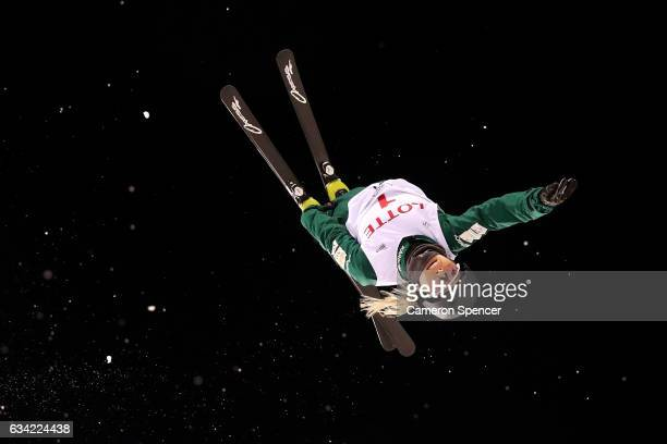 Danielle Scott of Australia performs an aerial during an Aerials training session prior to the FIS Freestyle World Cup at Bokwang Snow Park on...