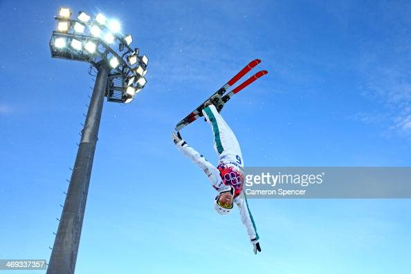 Danielle Scott of Australia practices before the Freestyle Skiing Ladies' Aerials Qualification on day seven of the Sochi 2014 Winter Olympics at...