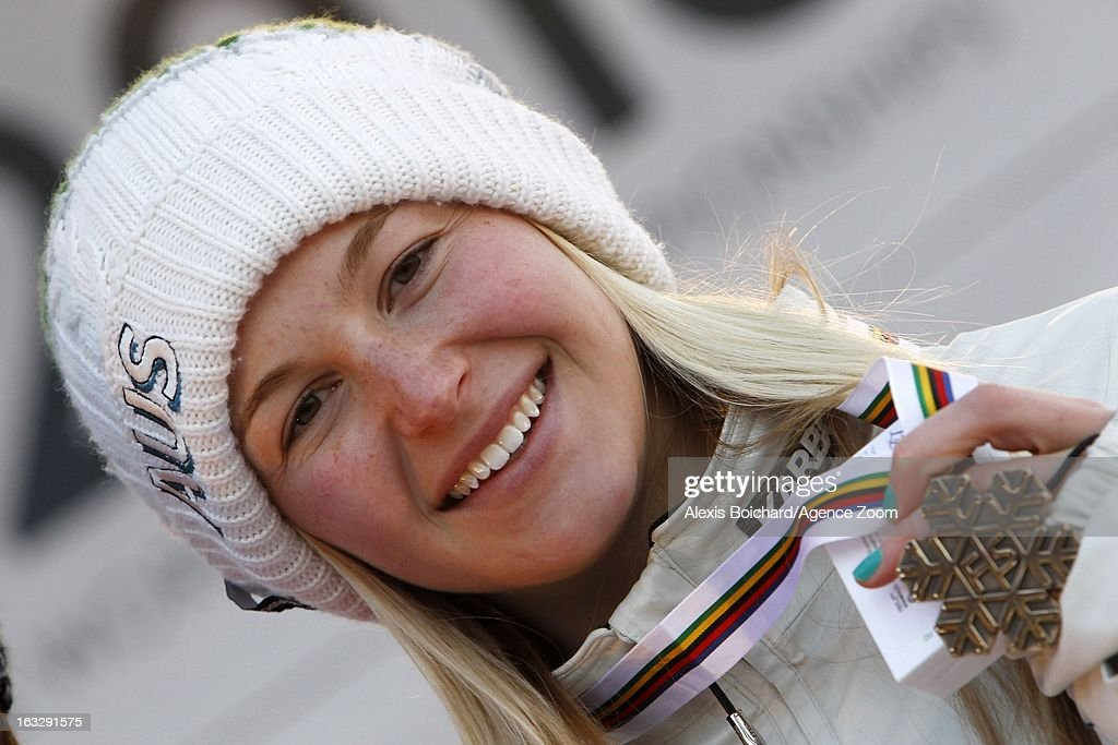 Danielle Scott of Australia takes 3rd place during the FIS Freestyle Ski World Championship Men's and Women's Aerials on March 07, 2013 in Voss, Norway.