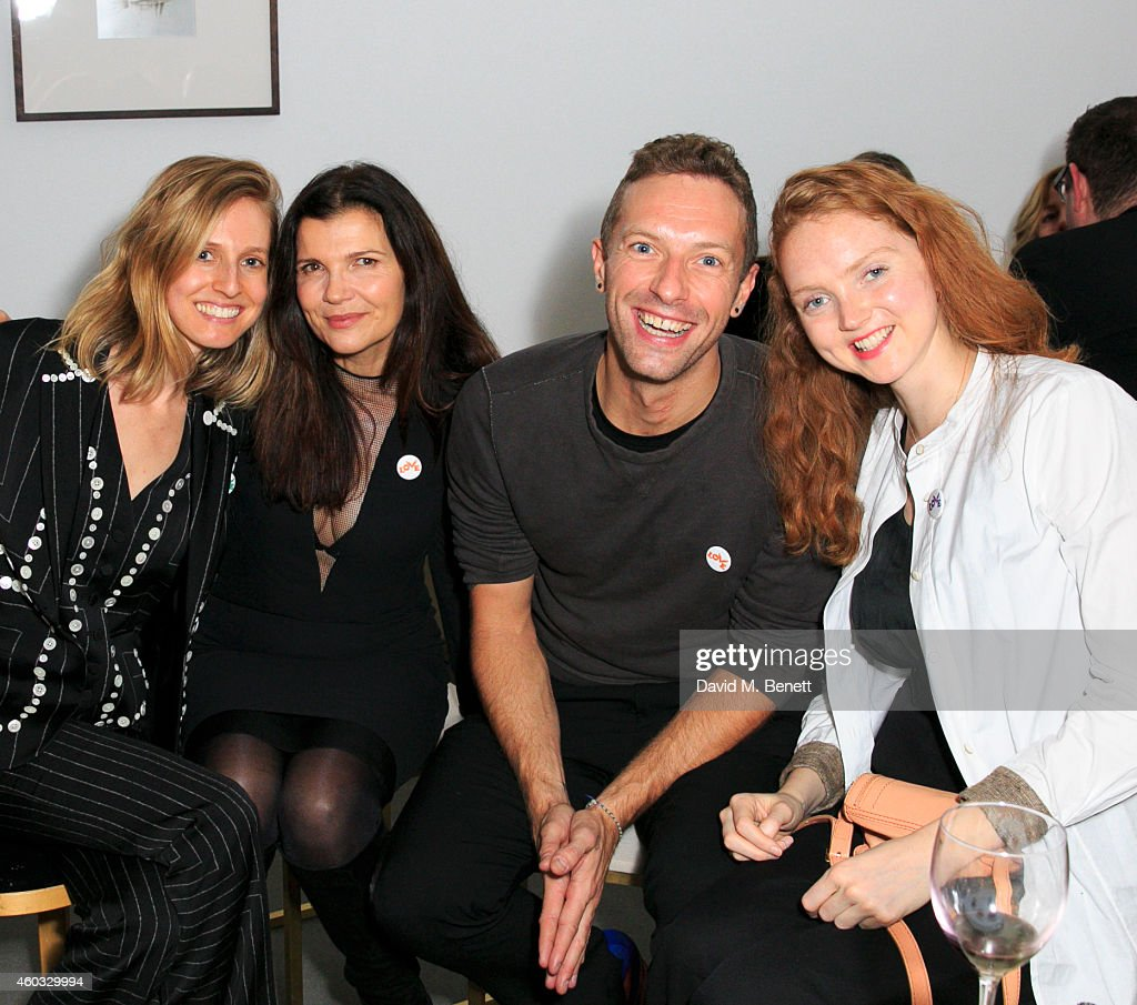 Danielle Sherman, Ali Hewson, Chris Martin and Lily Cole attend the Edun Pre Fall Dinner at Alison Jacques Gallery on December 11, 2014 in London, England.