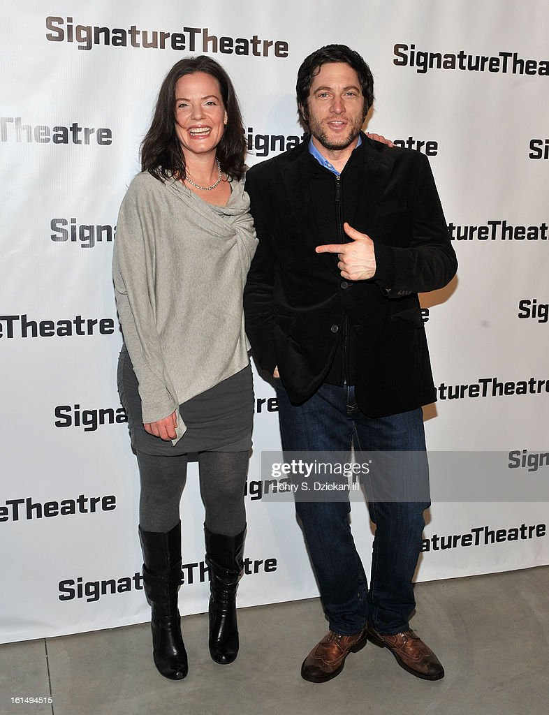 Danielle Skraastad and David Conrad attend the 2013 Signature Theatre Gala at The Signature Center on February 11, 2013 in New York City.