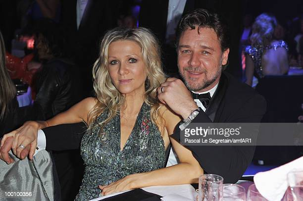 Danielle Spencer and husband Russell Crowe attends amfAR's Cinema Against AIDS 2010 benefit gala dinner at the Hotel du Cap on May 20 2010 in Antibes...