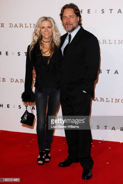 Danielle Spencer and Russell Crowe arrive at The Star Opening Party on October 25 2011 in Sydney Australia