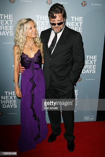 Danielle Spencer and Russell Crowe arrive at the 'The Next Three Days' Australian premiere on January 30 2011 in Sydney Australia