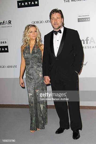 Danielle Spencer and Russell Crowe attend the amfAR Cinema Against AIDS 2010 at the Hotel du Cap during the 63rd Annual Cannes Film Festival on May...