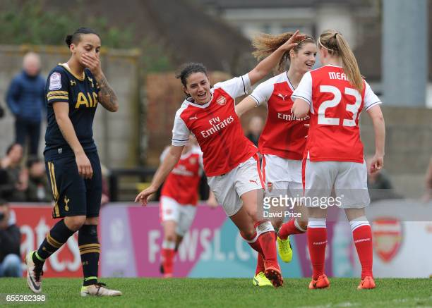 Danielle van de Donk celebrates scoring a goal for Arsenal during the match between Arsenal Ladies and Tottenham Hotspur Ladies on March 19 2017 in...