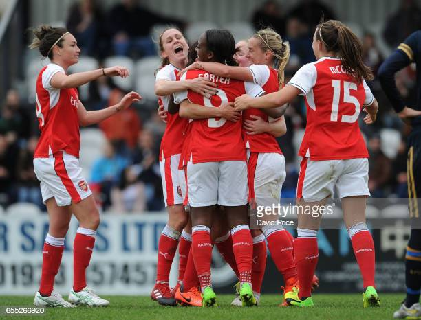 Danielle van de Donk celebrates scoring a goal for Arsenal Ladies with Jodie Taylor Danielle Carter Jordan Nobbs Heather O'Reilly and Katie McCabe...