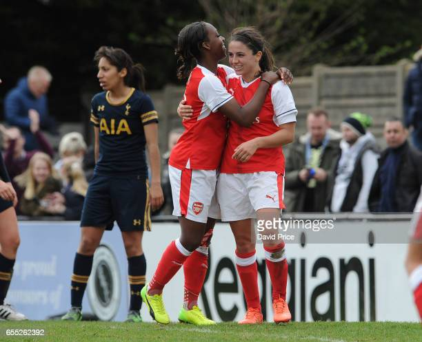 Danielle van de Donk celebrates scoring a goal for Arsenal with Danielle Carter during the match between Arsenal Ladies and Tottenham Hotspur Ladies...