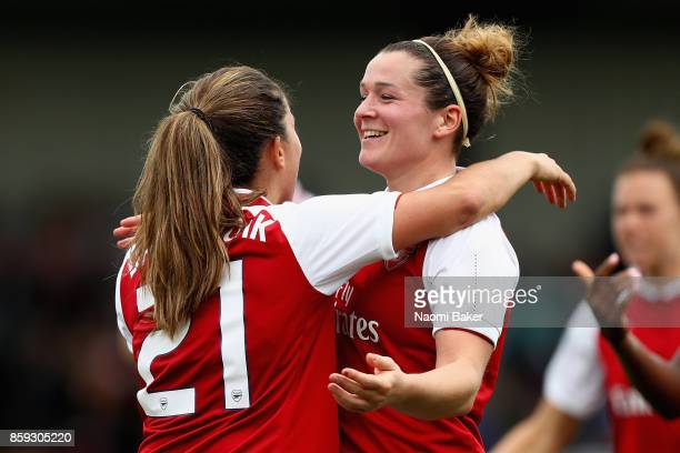 Danielle Van De Donk celebrates with Emma Mitchell after scoring her sides first goal during the Women's Super League 1 match between Arsenal and...
