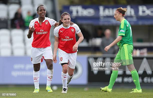 Danielle van de Donk of Arsenal celebrates after scoring their fourth goal with team mate Dan Carter during the SSE Women's FA Cup Semifinal match...