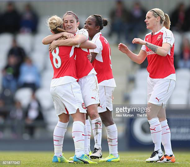 Danielle van de Donk of Arsenal celebrates after scoring their sixth goal and completing her hattrick with team mates Dan Carter Jordan Nobbs and...
