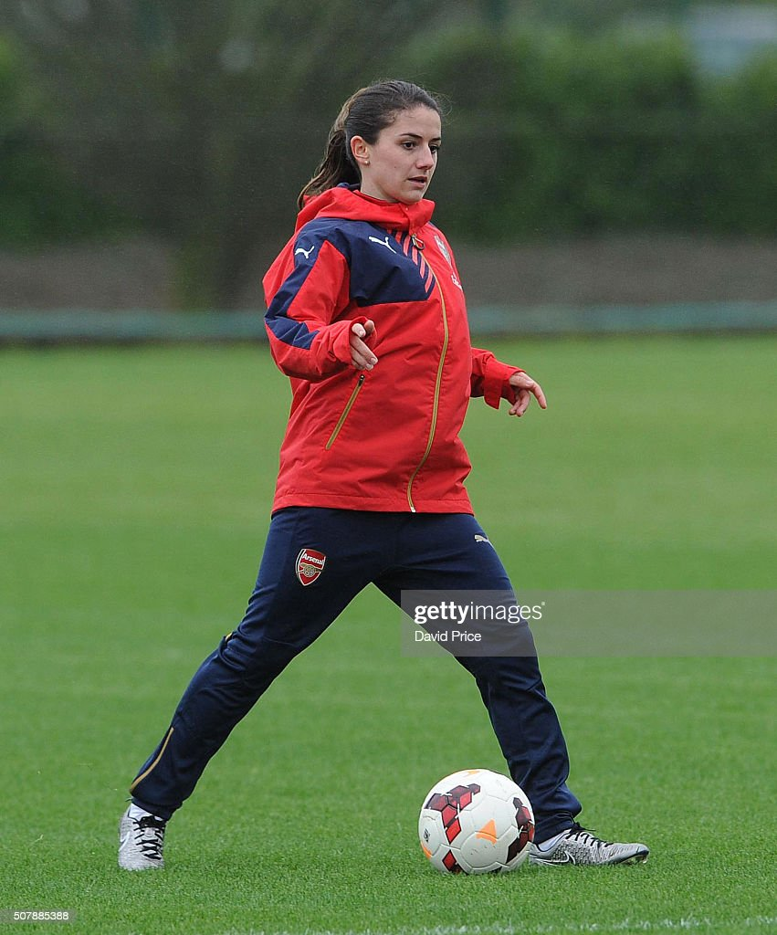 Danielle van de Donk of Arsenal Ladies during the Arsenal Ladies training session at London Colney on January 29, 2016 in St Albans, England.