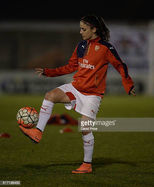 Danielle van de Donk of Arsenal Ladies warms up before the match between Arsenal Ladies and Reading FC Women on March 23 2016 in Borehamwood England