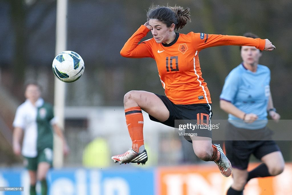 Daniëlle van de Donk of Holland during the Women's international friendly match between Netherlands and Wales, at Tata steel stadium on November 25, 2012 in Velzen-Zuid, Netherlands.