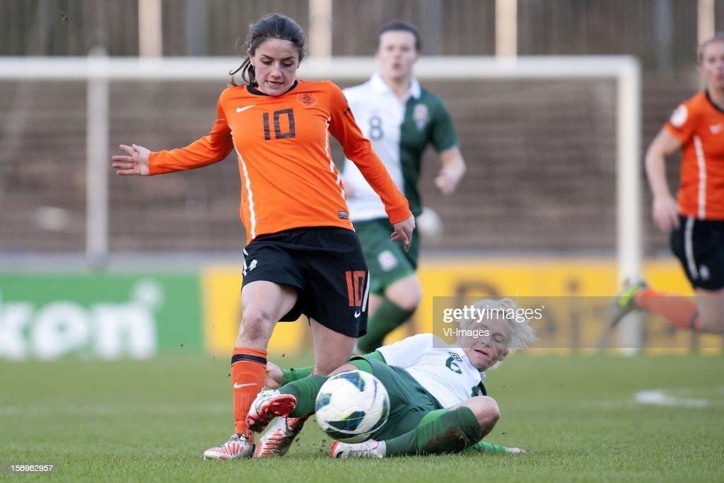 Daniëlle van de Donk of Holland, Jessica Fishlock of Wales during the Women's international friendly match between Netherlands and Wales, at Tata steel stadium on November 25, 2012 in Velzen-Zuid, Netherlands.