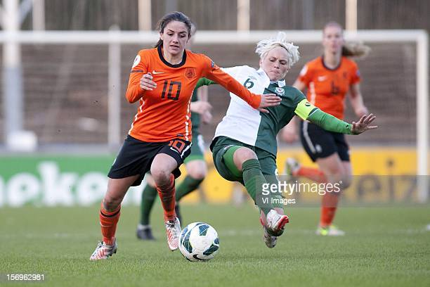 Daniëlle van de Donk of Holland Jessica Fishlock of Wales during the Women's international friendly match between Netherlands and Wales at Tata...
