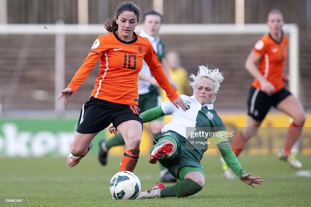 Daniëlle van de Donk of Holland, Jessica Fishlock of Wales during the Women's international friendly match between Netherlands and Wales, at Tata steel stadium on November 25, 2012 in Velzen-Zuid, Netherlands.