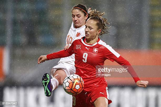 Danielle van de Donk of Holland Lia Walti of Switzerland during the 2016 UEFA Women's Olympic Qualifying Tournament match between Switzerland and...