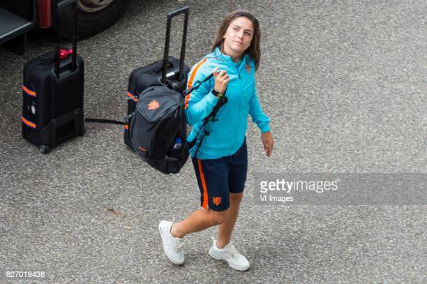 Danielle van de Donk of Holland Women arrives at the stadium during the UEFA WEURO 2017 final match between The Netherlands and Denmark at the...