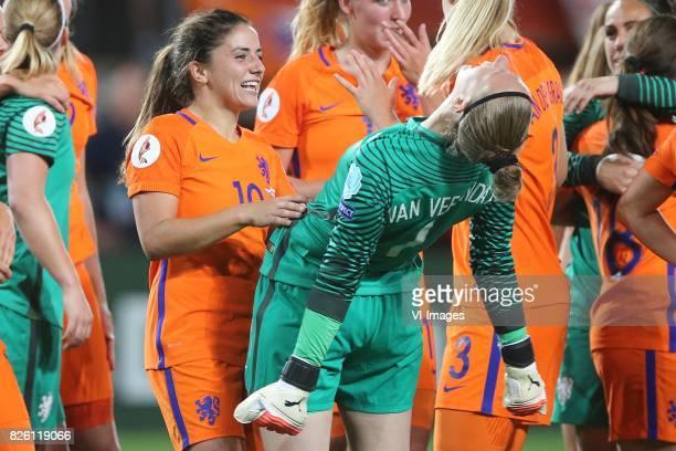 Danielle van de Donk of Holland Women goalkeeper Sari van Veenendaal of Holland Women during the semifinal UEFA WEURO 2017 match between The...