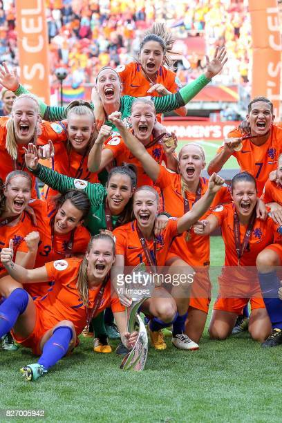 Danielle van de Donk of Holland Women goalkeeper Sari van Veenendaal of Holland Women Shanice van de Sanden of Holland Women Liza van der Most of...