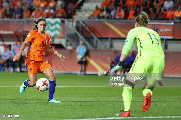 Danielle van de Donk of Holland Women Siobhan Chamberlain of England women during the semifinal UEFA WEURO 2017 match between The Netherlands and...