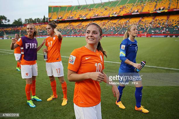 Danielle Van De Donk of Netherlands acknowledges fans following the FIFA Women's World Cup Canada 2015 Group A match between New Zealand and...