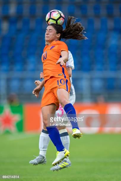 Danielle van de Donk of Netherlands heads the ball during the Women's International Friendly match between Netherlands and Japan at Rat Verlegh...