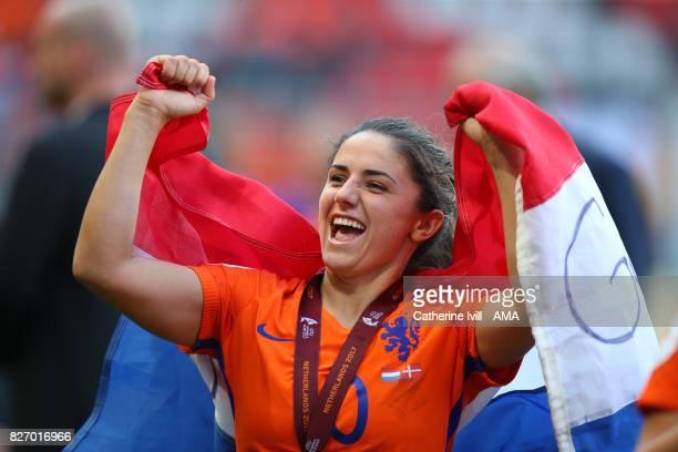 Danielle Van de Donk of Netherlands Women celebrates after the UEFA Women's Euro 2017 final match between Denmark and Netherlands at De Grolsch Veste...