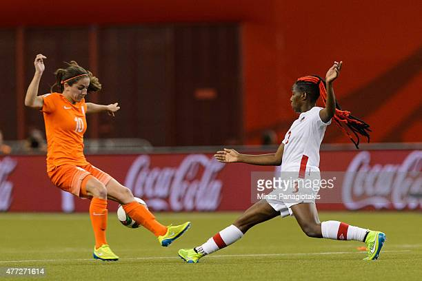 Danielle Van De Donk of the Netherlands and Kadeisha Buchanan of Canada battle for the ball during the 2015 FIFA Women's World Cup Group A match at...