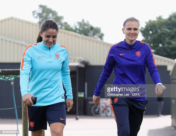 Danielle van de Donk of the Netherlands and Sarina Wiegman head coach of Netherlands walk to training during the Netherlands Training session at SV...