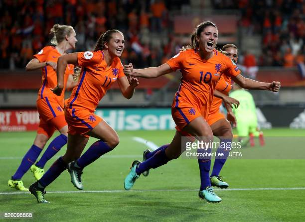 Danielle van de Donk of The Netherlands celebrates after scoring her team's second goal of the game during the UEFA Women's Euro 2017 Semi Final...