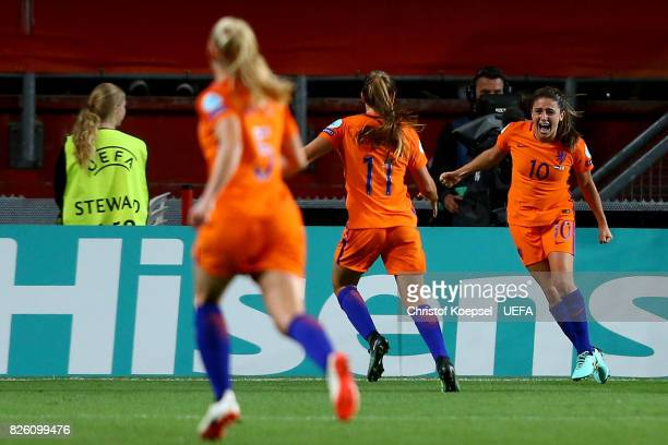 Danielle van de Donk of the Netherlands celebrates the second goal with Lieke Martens of the Netherlands during the UEFA Women's Euro 2017 Second...