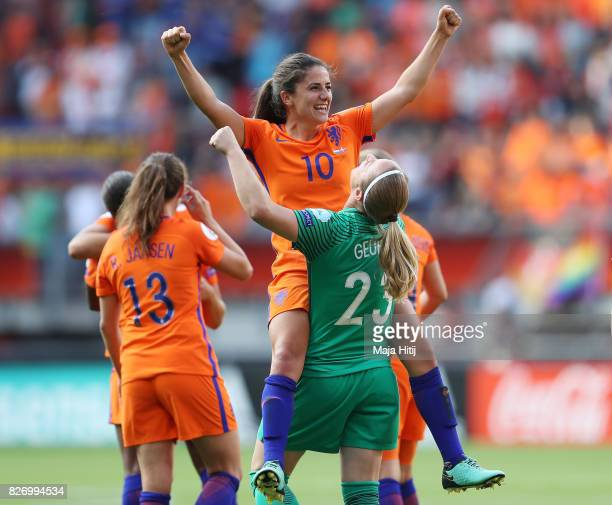 Danielle van de Donk of the Netherlands celebrates with team mate Loes Geurts of the Netherlands during the Final of the UEFA Women's Euro 2017...