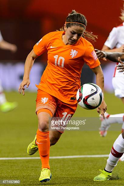 Danielle Van De Donk of the Netherlands chases the ball during the 2015 FIFA Women's World Cup Group A match against Canada at Olympic Stadium on...