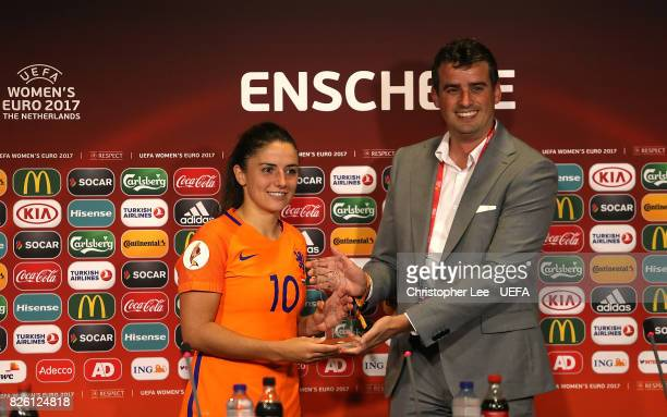 Danielle van de Donk of The Netherlands collects her player of the match award following the UEFA Women's Euro 2017 Semi Final match between...