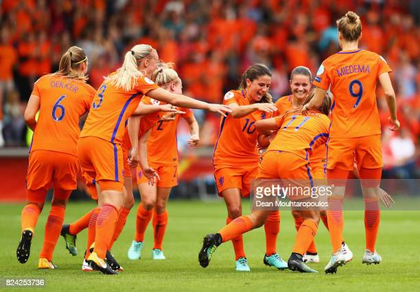 Danielle van de Donk of the Netherlands congratulates the opening goalscorer Lieke Martens of the Netherlands during the UEFA Women's Euro 2017...