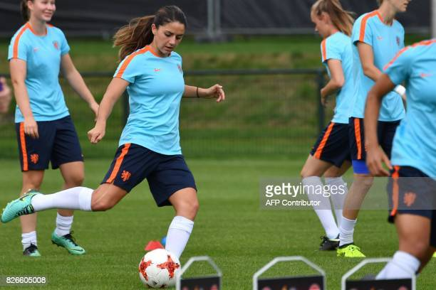 Danielle van de Donk of The Netherlands kicks the ball during a training session in the eve of the UEFA Women's Euro 2017 football tournament final...