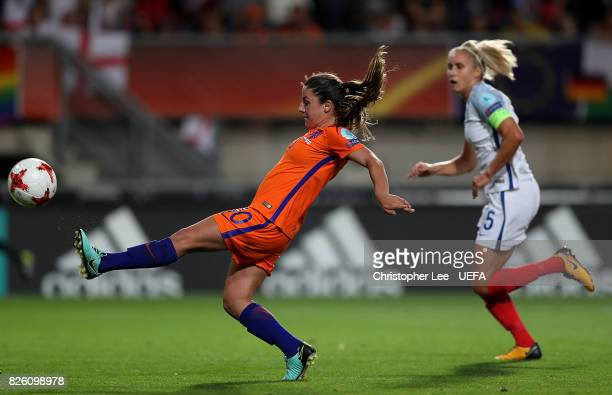 Danielle van de Donk of The Netherlands scores her team's second goal of the game during the UEFA Women's Euro 2017 Semi Final match between...