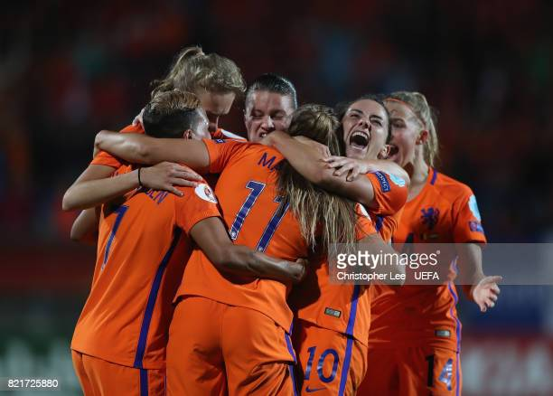 Danielle van de Donk of the Netherlands screams as she celebrates the second goal scored by Lieke Martens of the Netherlands during the UEFA Women's...