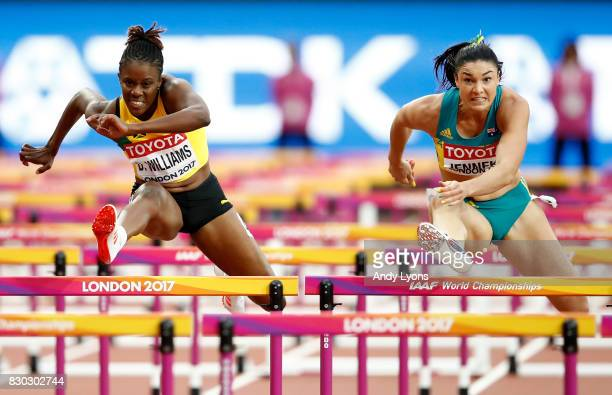 Danielle Williams of Jamaica and Michelle Jenneke of Australia compete in the Women's 100 metres hurdles semi finals during day eight of the 16th...