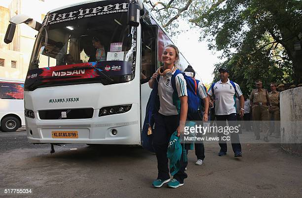 Danielle Wyatt of England arrives ahead of the Women's ICC World Twenty20 India 2016 match between England and Pakistan at Chidambaram on March 27...