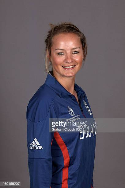 Danielle Wyatt of England attends a portrait session ahead of the ICC Womens World Cup 2013 at the Taj Mahal Palace Hotel on January 27 2013 in...