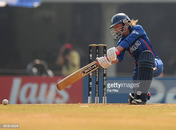 Danielle Wyatt of England bats during the Super Sixes match between England and New Zealand held at the CCI on February 13 2013 in Mumbai India