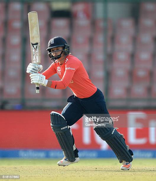 Danielle Wyatt of England bats during the Women's ICC World Twenty20 India 2016 Semi Final between England and Australia at Feroz Shah Kotla Ground...