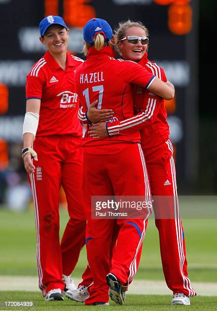 Danielle Wyatt of England celebrates taking a wicket with team mate Danielle Hazell during the 1st NatWest Women's One Day International match...
