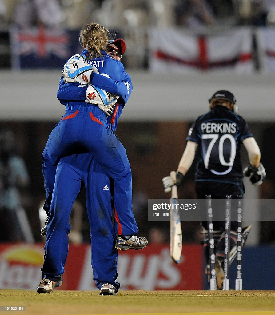 Danielle Wyatt of England celebrates the wicket of Katie Perkinsof New Zealand during the Super Sixes match between England and New Zealand held at the Cricket Club of India on February 13, 2013 in Mumbai, India.