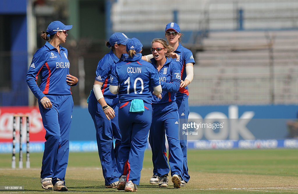 Danielle Wyatt of England celebrates the wicket of Marcia Letsoalo of South Africa during the Super Sixes match between England and South Africa held at the Barabati stadium on February 10, 2013 in Cuttack, India.