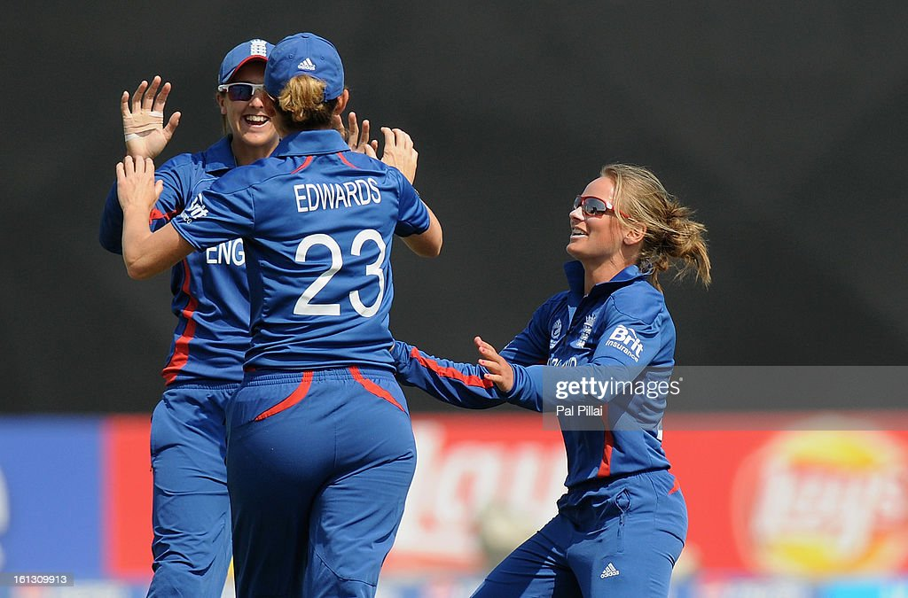 Danielle Wyatt of England celebrates the wicket of Sunette Loubser of South Africa during the Super Sixes match between England and South Africa held at the Barabati stadium on February 10, 2013 in Cuttack, India.
